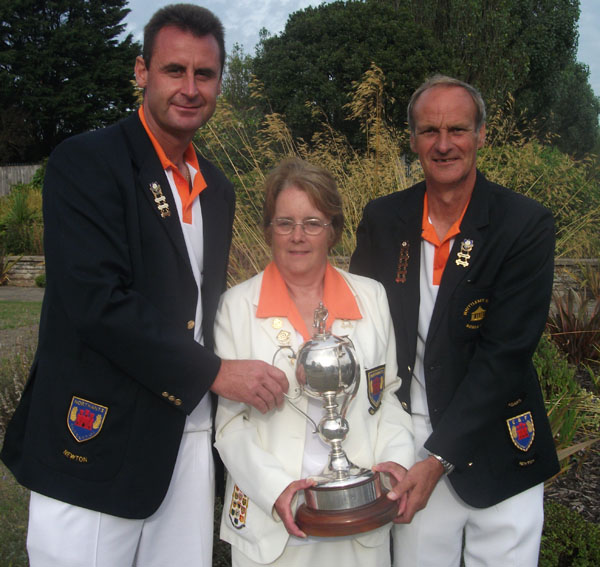 Mixed Triples winners - Paul Dalliday, Linda Toms and Barry Lawrence
